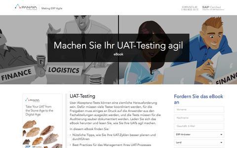 Screenshot of Landing Page panaya.com - Modern Age UAT Testing eBook - captured April 12, 2017