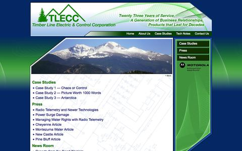 Screenshot of Case Studies Page tlecc.net - Timber Line Electric & Control Corporation - captured Oct. 7, 2014
