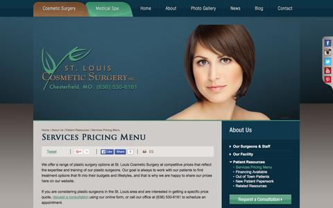 Screenshot of Pricing Page stlcosmeticsurgery.com - Cosmetic Plastic Surgery Pricing | St. Louis Cosmetic Surgery - captured Feb. 16, 2016