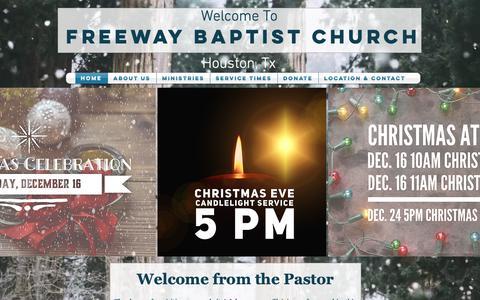Screenshot of Home Page freeway.family - Freeway Baptist Church, Houston TX - captured Dec. 7, 2018