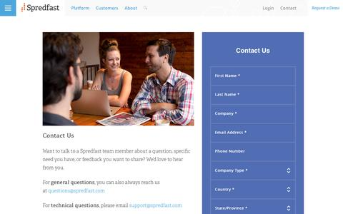 Screenshot of Contact Page spredfast.com - Social Media Company | Spredfast | Austin, TX | Contact Us - captured March 30, 2016