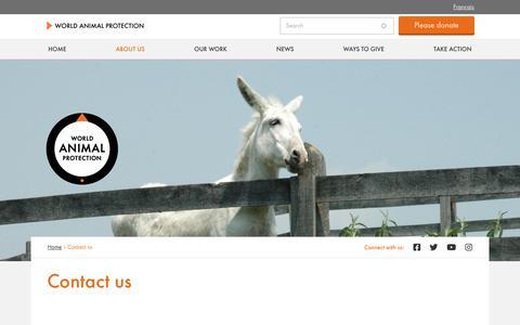 Screenshot of Contact Page worldanimalprotection.ca - Contact us | World Animal Protection - captured Jan. 22, 2020