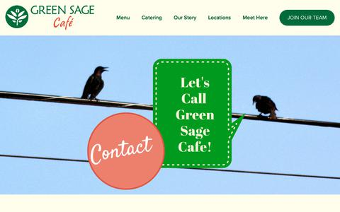 Screenshot of Contact Page greensagecafe.com - Contact — Green Sage Cafe - captured Oct. 22, 2017