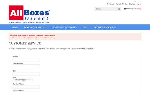 Screenshot of Support Page allboxesny.com - Customer Service - captured Oct. 4, 2014