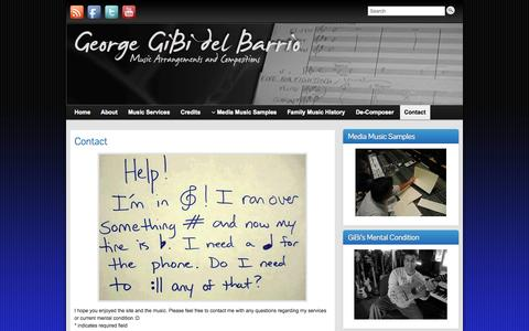 Screenshot of Contact Page georgedelbarrio.com - Contact » Gibi | Gibi - captured Oct. 2, 2014
