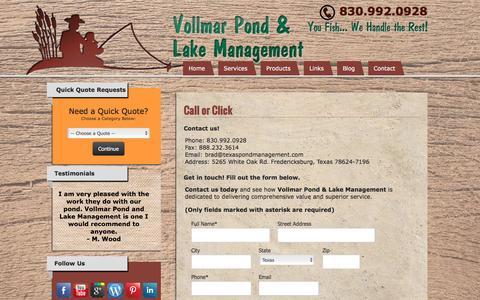 Screenshot of Contact Page texaspondmanagement.com - Contact Us-Vollmar Pond & Lake Management-Fredericksburg, Texas - captured Sept. 27, 2016