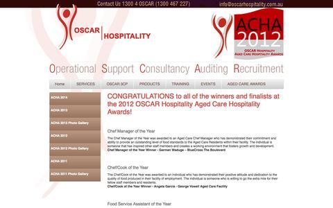 Screenshot of Support Page oscarhospitality.com.au - ACHA 2012 - captured Sept. 30, 2014