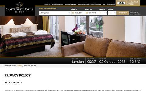 Screenshot of Privacy Page shaftesburyhotels.com - Shaftesbury Hotels - Find Budget Hotels in London, Save upto 20% - captured Oct. 1, 2018