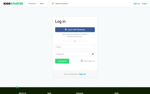 Screenshot of Login Page kickstarter.com - Log in — Kickstarter - captured July 20, 2014