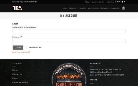 Screenshot of Login Page teaheadsets.com - My account ⋆ TEA Headsets - captured Sept. 25, 2018