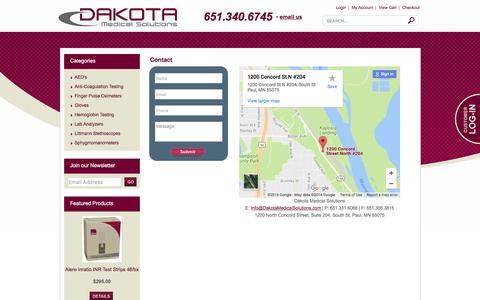 Screenshot of Contact Page dakotamedicalsolutions.com - Contact - captured July 31, 2016