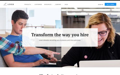 Screenshot of Products Page lever.co - Lever Hire | Hiring Software - captured Feb. 10, 2019