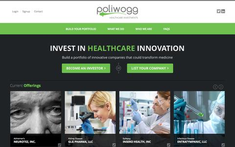 Screenshot of Home Page poliwogg.com - Poliwogg: Invest in  Innovative Healthcare and Life Science Companies - captured Sept. 30, 2014