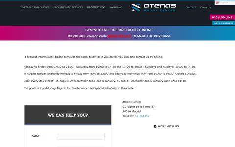 Screenshot of Contact Page centroatenas.com - contact |  Athens Sport Center |  GYM CHAMARTIN |  CLIMATIZED POOL - captured Jan. 22, 2020