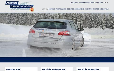 Screenshot of Home Page peugeot-driving-academy.be - PEUGEOT DRIVING ACADEMY - captured April 29, 2017