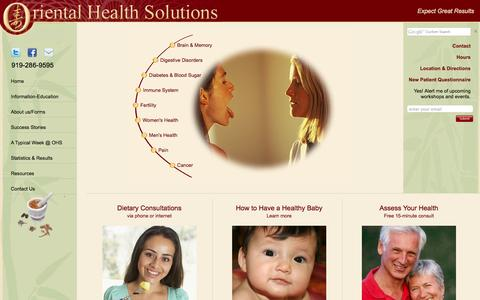 Screenshot of About Page orientalhealthsolutions.com - Oriental Health Solutions | Durham, Raleigh, Cary, Morrisville, Chapel Hill, NC - captured Sept. 30, 2014