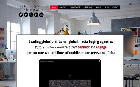 Screenshot of Home Page justpalm.com - Justpalm.com Web Marketing, Mobile Marketing - captured Feb. 11, 2016