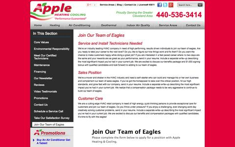 Screenshot of Jobs Page appleheating.com - Join Our Team of Eagles | Apple Heating & Cooling - captured Oct. 4, 2014