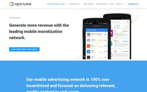 Screenshot of digitalturbine.com - Mobile App Monetization Solution for Publishers | Digital Turbine - captured Aug. 2, 2016