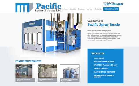 Screenshot of Home Page pacificspraybooths.com - home - Pacific Spray Booths - captured Sept. 27, 2014
