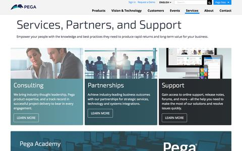 Screenshot of Services Page pega.com - Services that Maximize the Value of Your Pega Solution | Pega - captured July 18, 2017
