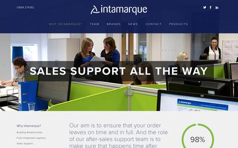 Screenshot of Support Page intamarque.com - Sales support all the way - Intamarque - captured Nov. 26, 2016