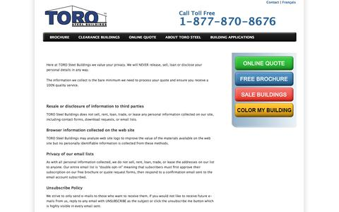 Screenshot of Privacy Page torosteelbuildings.com - Privacy Policy - Toro Steel Buildings - captured July 11, 2019