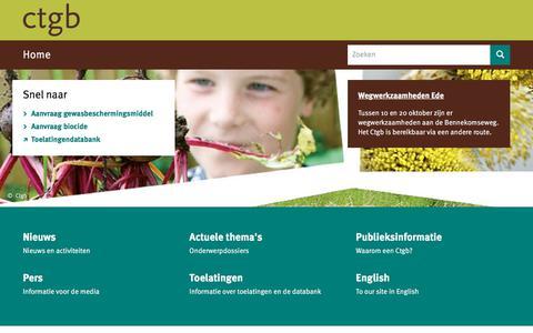 Screenshot of Home Page ctgb.nl - Home | College voor de toelating van gewasbeschermingsmiddelen en biociden - captured Oct. 13, 2017