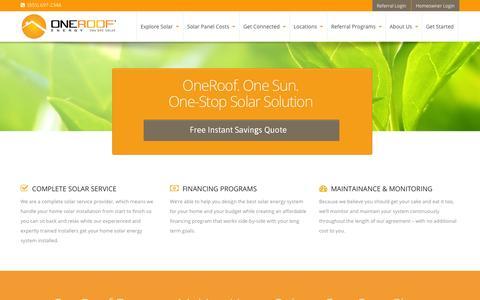 Screenshot of Home Page oneroofenergy.com - Home Solar Panels, Solar Energy- OneRoof Energy - captured Jan. 15, 2015