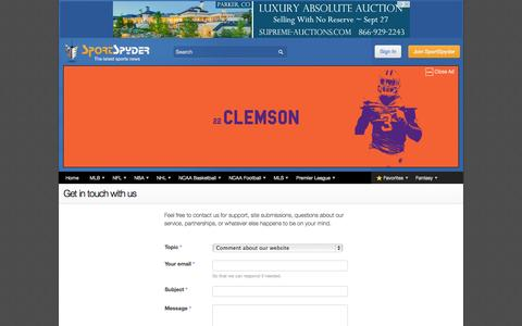 Screenshot of Contact Page sportspyder.com - Contact Us   SportSpyder - captured Sept. 22, 2014