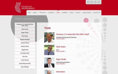 Screenshot of Team Page edinst.com - Team - Edinburgh Instruments - captured Oct. 2, 2014