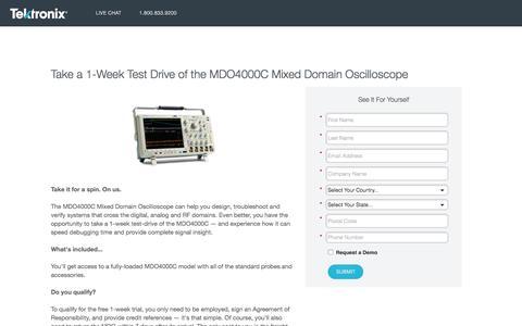 Screenshot of Landing Page tek.com - Tektronix   Take a 1-Week Test Drive of the MDO4000C Mixed Domain Oscilloscope - captured Aug. 15, 2016