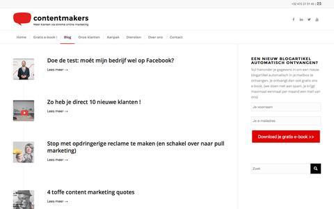 Screenshot of Blog content-makers.be - Gratis online marketing tips - captured Nov. 30, 2016