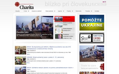 Screenshot of Home Page charita.sk - Home - Slovak Catholic Charity - captured Oct. 2, 2014