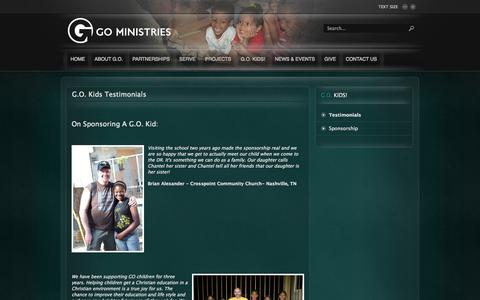 Screenshot of Testimonials Page go-ministries.org - G.O. Kids Testimonials - captured Oct. 1, 2014