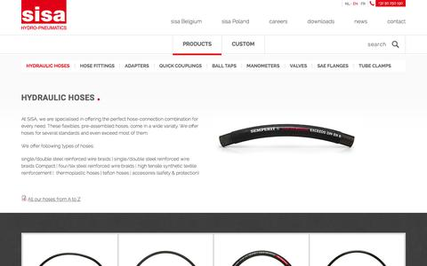Screenshot of Products Page sisa.be - Hydraulic Hoses | Sisa - captured Feb. 2, 2016