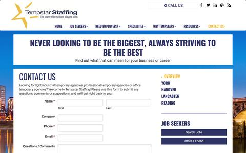 Screenshot of Contact Page Locations Page tempstarstaffing.com - Light Industrial, Office, Professional Temp Agencies - captured Nov. 7, 2017