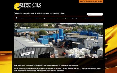 Screenshot of Home Page aztecoils.co.uk - My CMS | Home | Producing a complete range of high performance lubricants for industry - captured Sept. 15, 2015