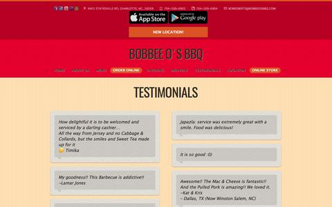 Screenshot of Testimonials Page bobbeeosbbq.com - What People Say About Bobbee O's BBQ - captured June 2, 2017