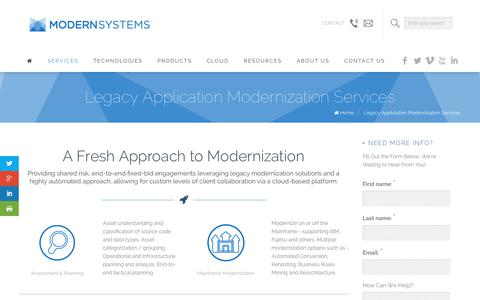 Screenshot of Services Page modernsystems.com - Legacy Application Modernization Services   Modern Systems: Modernize Without Compromise - captured Oct. 21, 2018