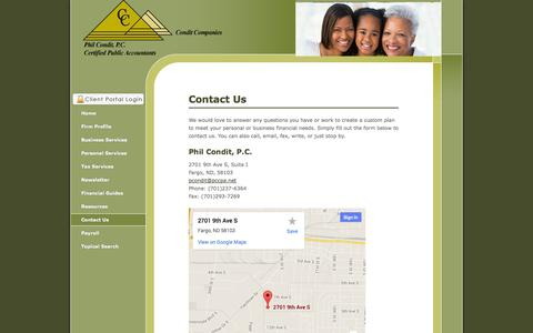 Screenshot of Contact Page philconditcpa.com - Fargo, ND CPA / Phil Condit, P.C. - captured Oct. 1, 2014