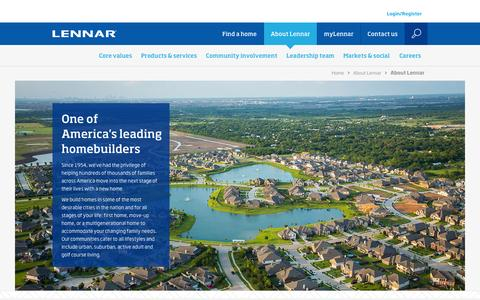 Screenshot of About Page lennar.com - Lennar Corporation - About Lennar - captured Feb. 25, 2016