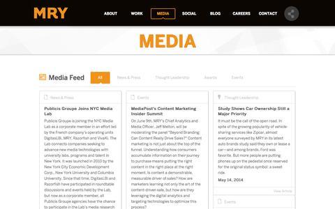 Screenshot of Press Page mry.com - MRY | Media - captured Sept. 22, 2014
