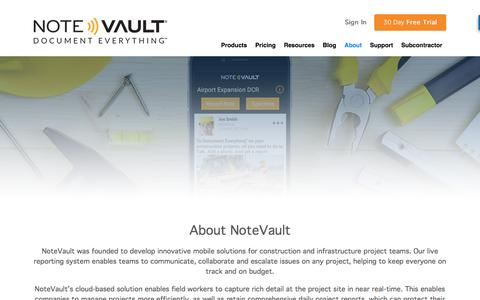 Screenshot of About Page notevault.com - About Us | Construction Managements Tools | NoteVault - captured Dec. 6, 2016