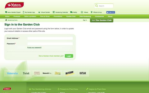 Screenshot of Login Page yates.com.au - Trusted Gardening Products and Gardening Advice | Yates Garden Club | Lawn Care, Plant ID, Garden Maintenance, Garden Products - Yates - captured July 27, 2018