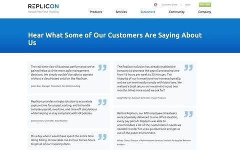Screenshot of Testimonials Page replicon.com - Timesheet & Timetracking Software Testimonials | Replicon - captured Oct. 10, 2014