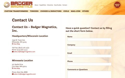 Screenshot of Contact Page badgermagnetics.com - Contact Us | Badger Magnetics - captured Oct. 5, 2018