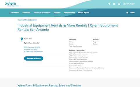 Screenshot of Support Page xylem.com - Industrial Equipment Rentals & More Rentals   Xylem Equipment Rentals San Antonio    Xylem US - captured Nov. 9, 2019