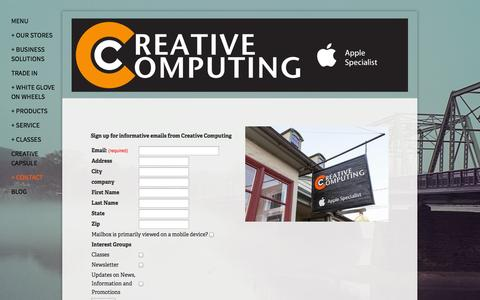Screenshot of Signup Page creativecomputing.com - Newsletter Sign-Up — Creative Computing - captured Oct. 3, 2014