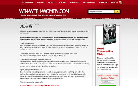 Screenshot of About Page win-with-women.com - About Us | Win-With-Women.com - captured Oct. 30, 2014